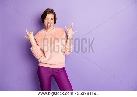 Photo Of Crazy Funky Lady Rocker Soul Sticking Tongue Out Mouth Showing Hands Horns Metal Rock Conce