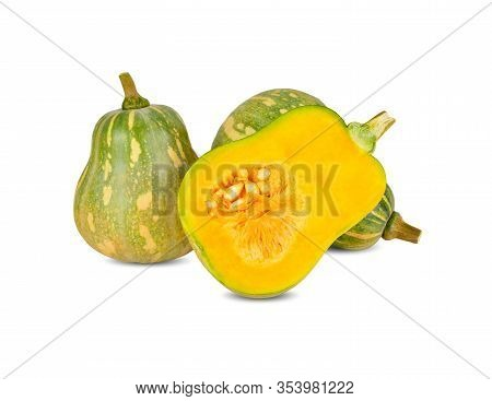 Whole And Half Cut Fresh Butternut Pumpkin With Stem On White Background