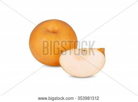 Whole And Sliced Pear On White Background