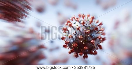 Coronavirus cells in microscopic view. Virus from Wuhan casusing pandemic around the world. 3D render