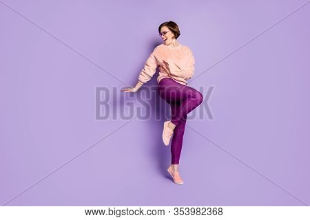 Full Size Photo Of Enthusiastic Girl Feel Rejoice Emotions Dance On Discotheque Look Copy Space Wear