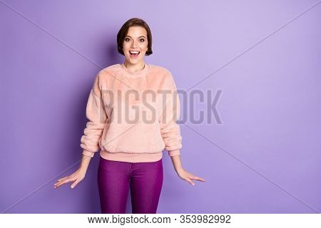 Portrait Of Amazed Excited Girl Hear Incredible Black Friday Novelty Shout Wear Casual Style Clothin