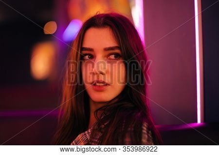 Night Portrait Of Young Woman,neon light
