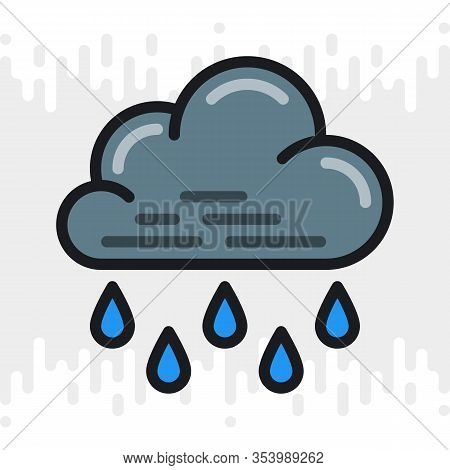 Heavy Rain, Shower Or Downpour Icon For Weather Forecast Application Or Widget. Cloud With Raindrops
