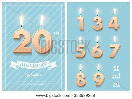 Burning Number 20 Birthday Candles With Vintage Ribbon, Birthday Celebration Text On Textured Blue B