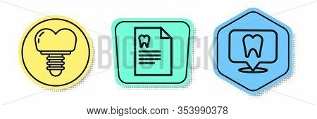 Set Line Dental Implant, Clipboard With Dental Card And Dental Clinic Location. Colored Shapes. Vect