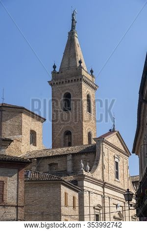 Ripatransone, Ascoli Piceno, Marches, Italy: Typical Street Of The Historic Town At Morning. Church