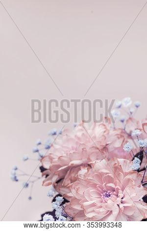 Flowers, Close-up Of Pink, Pale Pink Chrysanthemums And Small Lilac Flowers, Bouquet Composition. Ve