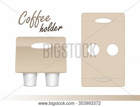 Coffee Cup Carton Holder With Die Cut. Vector Paper Pack Holder Mockup. Cardboard Coffee Cup Holder