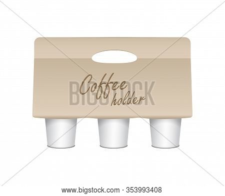 Coffee Cup Carton Holder. Vector Paper Pack Holder Mockup. Cardboard Coffee Cup Holder Takeaway