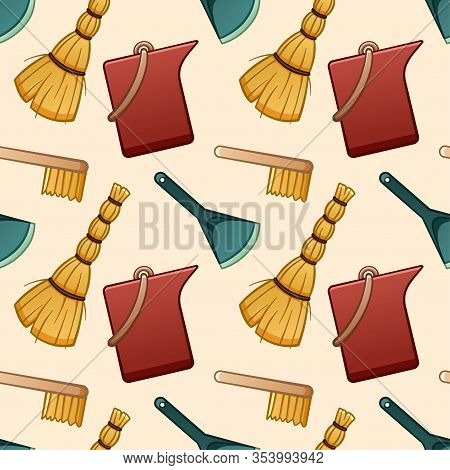 Cartoon Style Besoms, Brushes, Buckets And Dustpans For Cleaning Seamless Pattern On Beige Backgroun