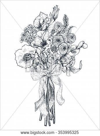 Floral Composition. Bradal Bouquet With Beautiful Hand Drawn Flowers, Plants, Ribbon. Monochrome Vec