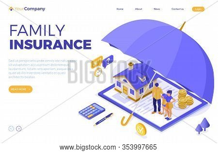 Property House Family Finance Insurance Isometric Concept For Poster Web Site Advertising With Insur