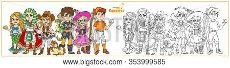 Children In Carnival Costumes Baseball Player, Mermaid, Cowgirl, Egyptian Pharaoh, Caveman, Witch Ch