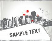 modern urban scene with sample text halftone background poster