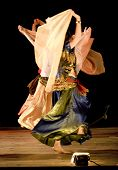 abstract images of traditional Arab Dancers on stage poster