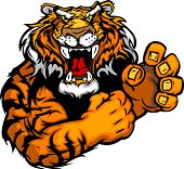 Tiger with Fighting Hands Mascot Body Vector Illustration poster