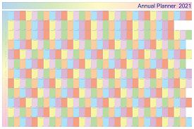 Annual Planner 2021 On White With Specific Color For Each Day Of The Week Black Letters With White C