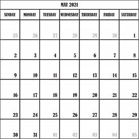 Calendar Planner Month May 2021 On Transparent Background Designer Cut