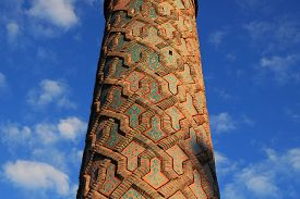 Minaret  Of Yakutiye Madrasah In Erzurum, Turkey. It Was Built In Xivth Century. The Minaret Has Geo