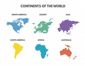 World Map 6 Continents Isolated On White Background. Continents Of The World. Continents Map Set. Ve