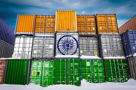 The National Flag Of India  On A Large Number Of Metal Containers For Storing Goods Stacked In Rows