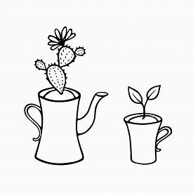 A Sprout With Two Leaves In A Tea Cup And A Blooming Cactus In A Teapot Set. The Concept Of The  Spr