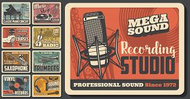 Music Concert And Musical Instruments Shop Vintage Retro Posters. Vector Sound Recording Studio, Jaz