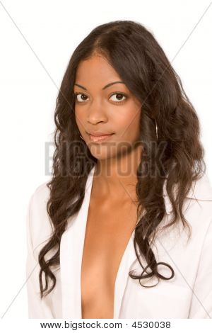 Fresh Ethnic Woman In Suggestive Unbuttoned Shirt