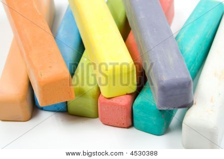 Colored Chalk On White