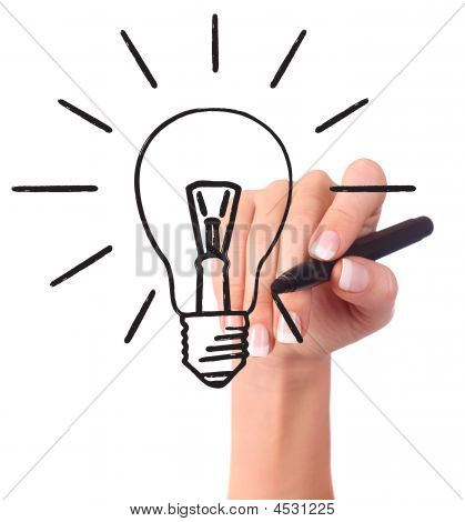 Hand Drawing Light Bulb