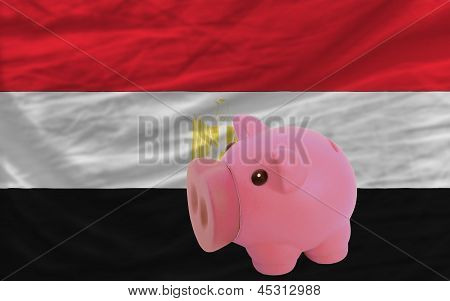 Piggy Rich Bank And  National Flag Of Egypt