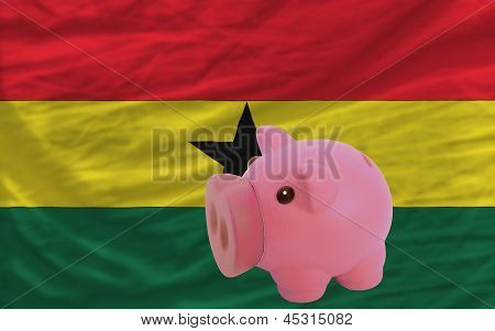 Piggy Rich Bank And  National Flag Of Ghana