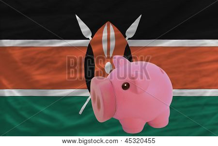 Piggy Rich Bank And  National Flag Of Kenya