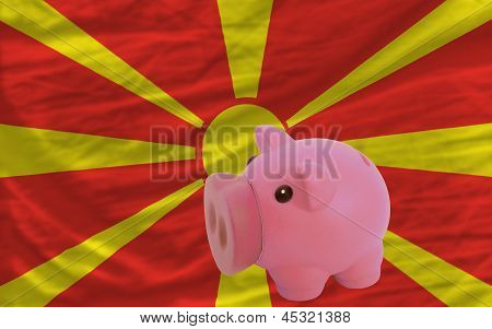 Piggy Rich Bank And  National Flag Of Macedonia