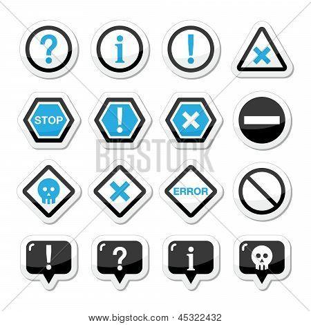 Computer system vector icons - warning, danger, error