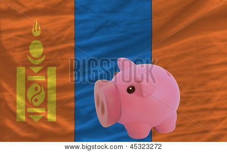 Piggy Rich Bank And  National Flag Of Mongolia