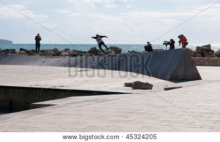 Skateboard film location, Cala Estancia, Palma de Mallorca.