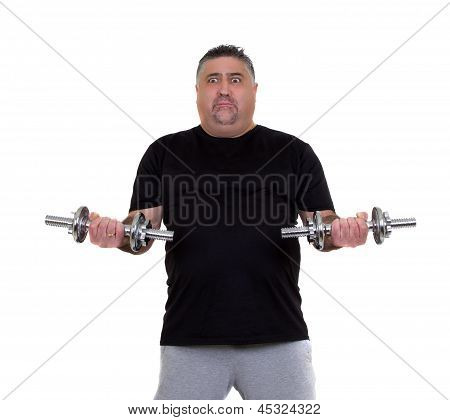 Overweight Man Doing Fitness Exercises
