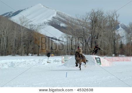 Ski Joring Rider And Jumper