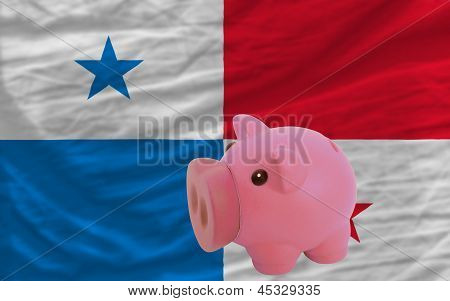 Piggy Rich Bank And  National Flag Of Panama