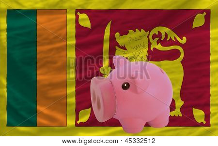 Piggy Rich Bank And  National Flag Of Srilanka