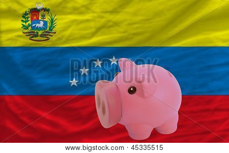 Piggy Rich Bank And  National Flag Of Venezuela