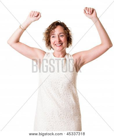 A happy woman with arms up