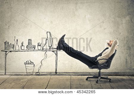 young businessman relaxes sitting in the office poster