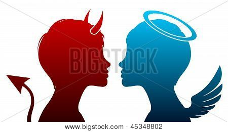 Angel And Devil Silhouette