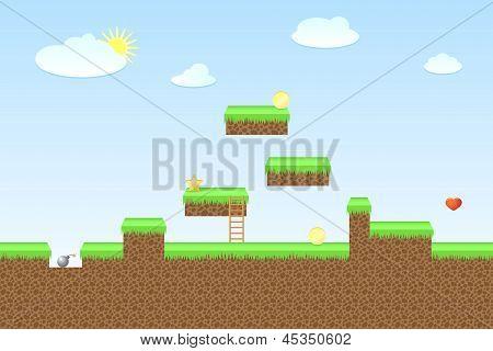 Arcade game world, vector illustration
