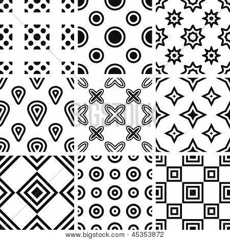 Set Of Monochrome Geometric Seamless Patterns.eps