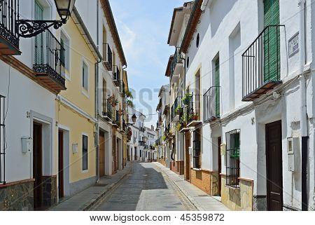 Sunny Street Of Spanish City Granada