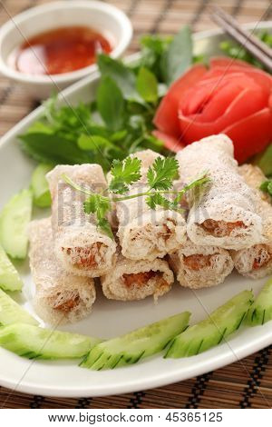 net spring rolls, chao gio re, vietnamese cuisine poster